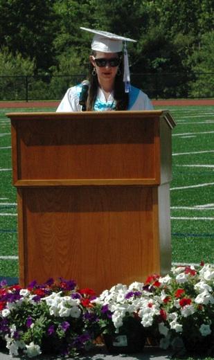 Shannon Pecora of Westford delivers her speech as salutatorian of the Nashoba Tech Class of 2014. (Credit: Derek Rochon)