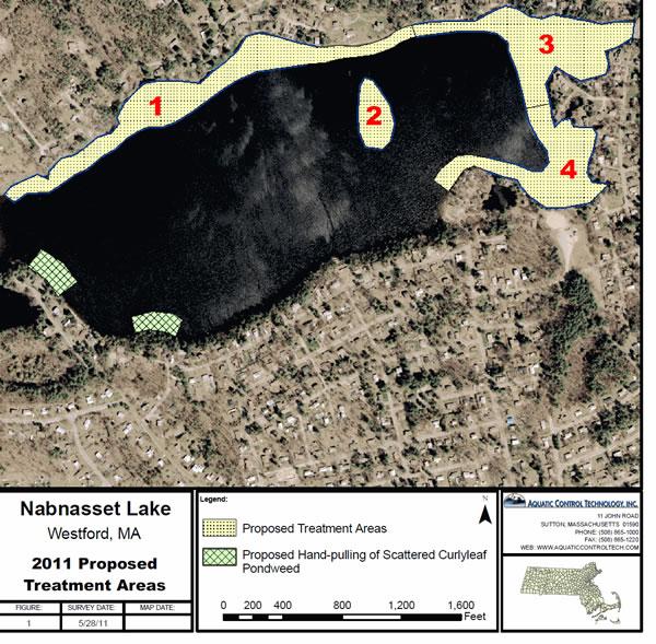A similar treatment map from 2011 at Nab Lake (credit: Town of Westford)