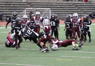 Bobby MacCormack makes a shoestring tackle