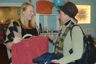 Emily Benson (left) talks fashion with Julie Richardson