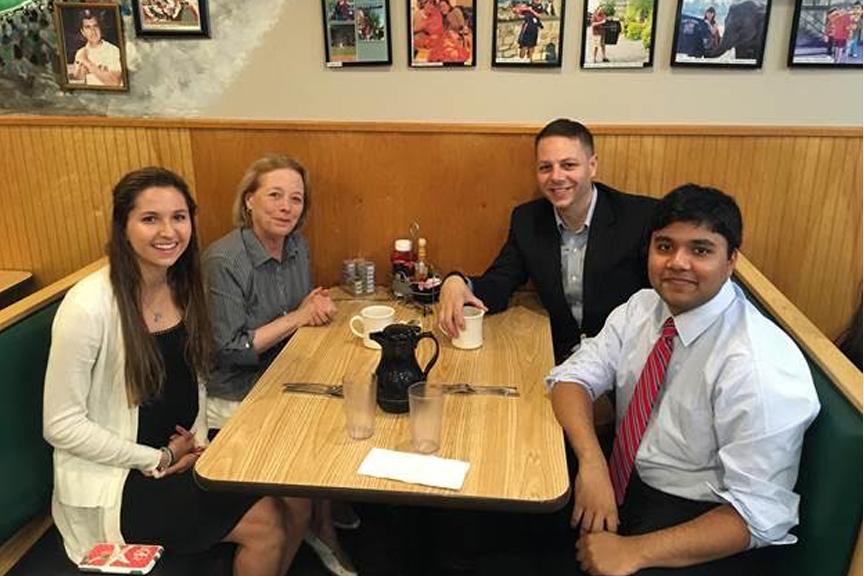 (l to r) Caroline Eliopoulos, Congresswoman Niki Tsongas, State Representative James Arciero and Pranav Mulpur
