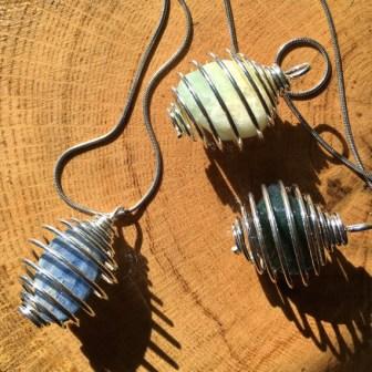 Crystal Rock Arts spiral cage pendants